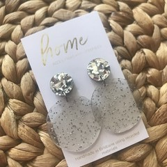 Recycled Silver Glitter Circle Dangles | Ethical