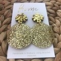 Recycled Gold Glitter Yellow Star Christmas Dangles   Environmentally friendly