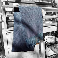 Lightweight Handwoven Scarf,  Blue / Burgundy, Tencel