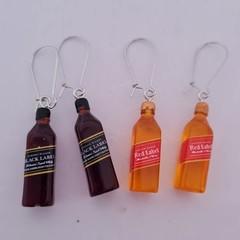 Whiskey bottle charm dangle earrings