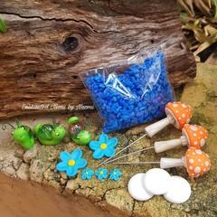 Orange Mushroom Fairy Garden set with cheeky marble snails