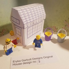 Lego house. Minature paper house for you to construct. Minature No.3