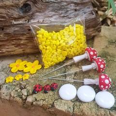 Red Mushroom Fairy Garden set with Ladybirds