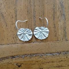 Recycled Silver Geranium Leaf Earrings
