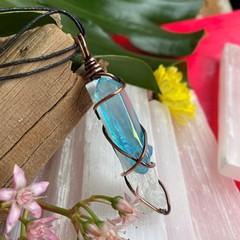 Aqua Aura Quartz and Selenite Choker Pendant