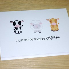 Happy Birthday card - cows and sheep