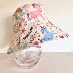 Girls summer hat in magical unicorn fabric