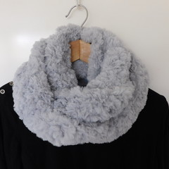 Fake Fur Snood Scarf  - Light Grey