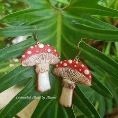 Large Red top Mushroom Dangle Earrings
