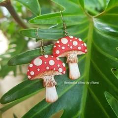 Red top Mushroom Dangle Earrings