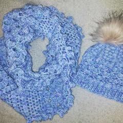 Ocean waves infinity scarf and beanie set