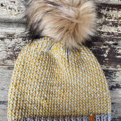 Knitted Grey mustard fair isle beanie mens or ladies, Grey mustard PomPom beanie