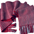Pure Wool  Scarf, Handwoven, Burgundy with pale grey stripes
