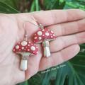 Double sided Red top Mushroom Dangle Earrings