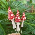 Red topsy turvy Mushroom Fairy Garden set with Caterpillars