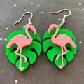 Pink Glitter Flamingos on Monstera Leaves - Acrylic Earrings