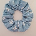 Blue and white flower print scrunchie / hair accessory