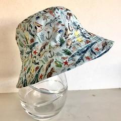 Boys summer hat in underwater creatures fabric