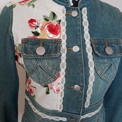 Upcycled Denim Button Jacket Retro rose flowers and large Lace Motif Size 8-10