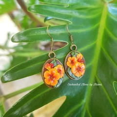 Orange Hibiscus Earrings