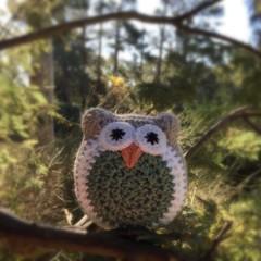 Crochet Owl Softie | Soft Toy | Gift Idea | Hand Crocheted | Wool Bamboo | Green