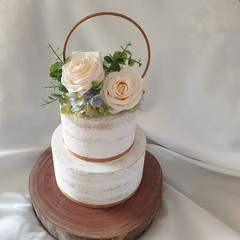Cream Vntage Style Cake Topper Artificial Silk Roses
