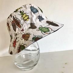 Boys summer hat in bright bugs fabric