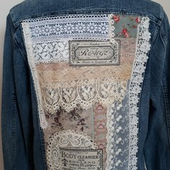 Upcycled Denim Jacket Vintage lace Doilies trim and classic flowers  Size 16.