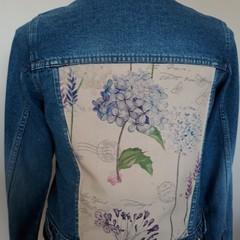 Upcycled Denim Jacket Retro Linen pastel flowers and large insert  Size 16