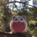 Crochet Owl Softie   Soft Toy   Gift Idea   Hand Crocheted   Wool Bamboo   Pink