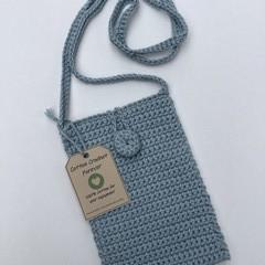 Mini Crochet Crossbody Bag 100% Cotton-Blue