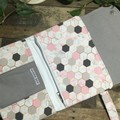 Nappy Wallet - Pink, Grey & White Hexagons with Gold Faux Leather accent