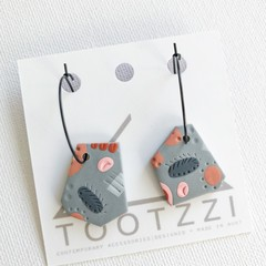 LADY GALAH - Pink + Grey Surface Pattern - Odd One Out Dangles