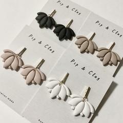 Lotus clay earrings