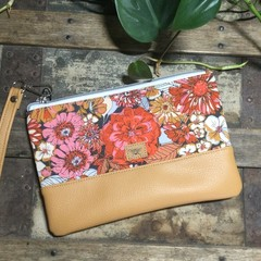 Small Flat Clutch - Mustard, Orange, Pink Floral/Mustard Faux Leather