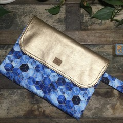 Nappy Wallet - Blue Geometric with Gold Faux Leather accent