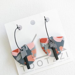 LADY GALAH - Pink + Grey Surface Pattern - Interchangeable Dangles Grey Leather