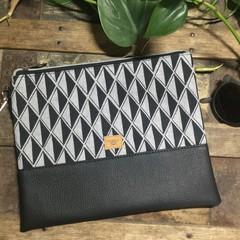 Flat Clutch - Black & Grey Diamond/Black Faux Leather