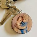 Photo Keychain on Wood Slice, Keyring For Him, Fathers Day Gift, Photo Keyring