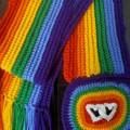 Rainbow crochet scarf with hearts, pride scarf
