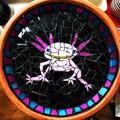 Mosaic Birdbath.  Axolotl.