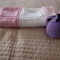Knitted Baby blanket in Pink(s) and White: Cot, Pram, Travel, Girl