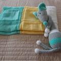 Knitted Baby blanket inLemon, Mint Green and White: Cot, Pram, Travel, Unisex