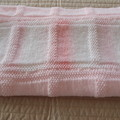 Large Knitted Baby blanket in Pink(s) and White: Cot, Pram, Travel, Girl
