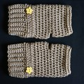 Fingerless gloves, wrist warmer in grey brown with wooden button - FREE SHIPPING