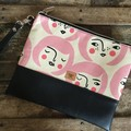 Flat Clutch - Faces with pink bob haircut/BlackFaux Leather