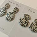 Leopard print organic clay earrings