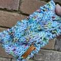 Cable blue pink headband, women's winter headband, rainbow chunky ladies ear war