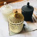 Luxury Soy Candle Gift   Geo Cut Glass Candle