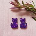 Cute cat earrings -  Shiny purple glitter